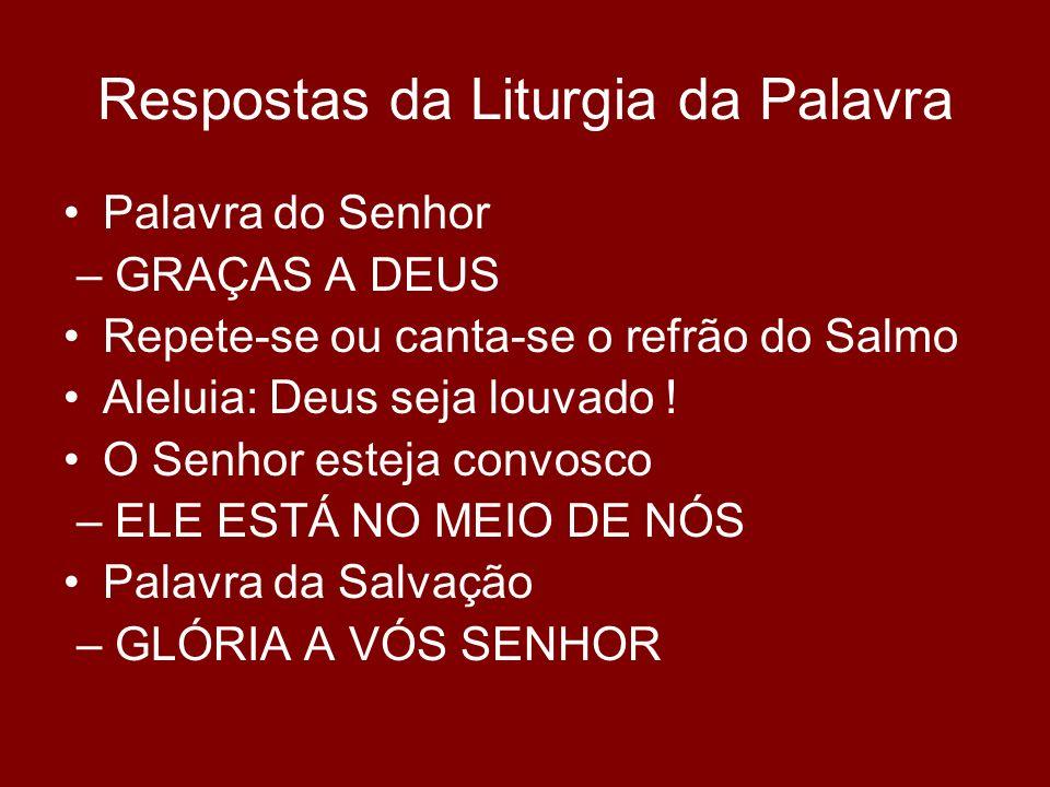 Respostas da Liturgia da Palavra Palavra do Senhor – GRAÇAS A DEUS Repete-se ou canta-se o refrão do Salmo Aleluia: Deus seja louvado ! O Senhor estej
