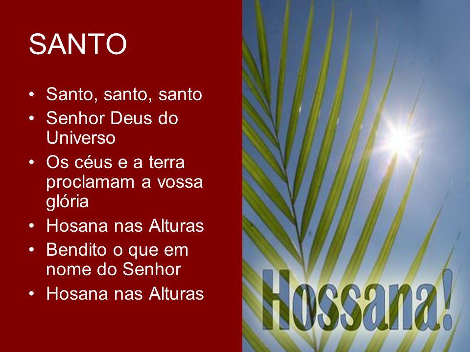 SANTO Santo, santo, santo Senhor Deus do Universo Os céus e a terra proclamam a vossa glória Hosana nas Alturas Bendito o que em nome do Senhor Hosana