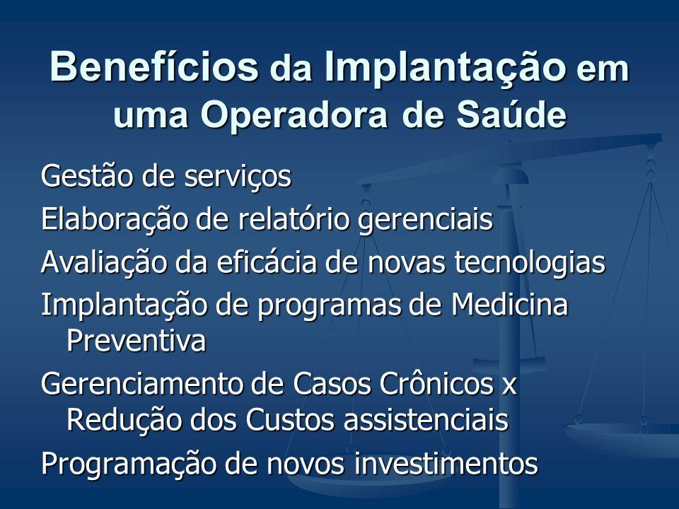 Benefícios da Implantação em uma Operadora de Saúde Troca de informações com o setor jurídico Responsabilidade técnica junto a ANS Representatividade da operadora junto aos profissionais e entidades médicas CRM E CFM