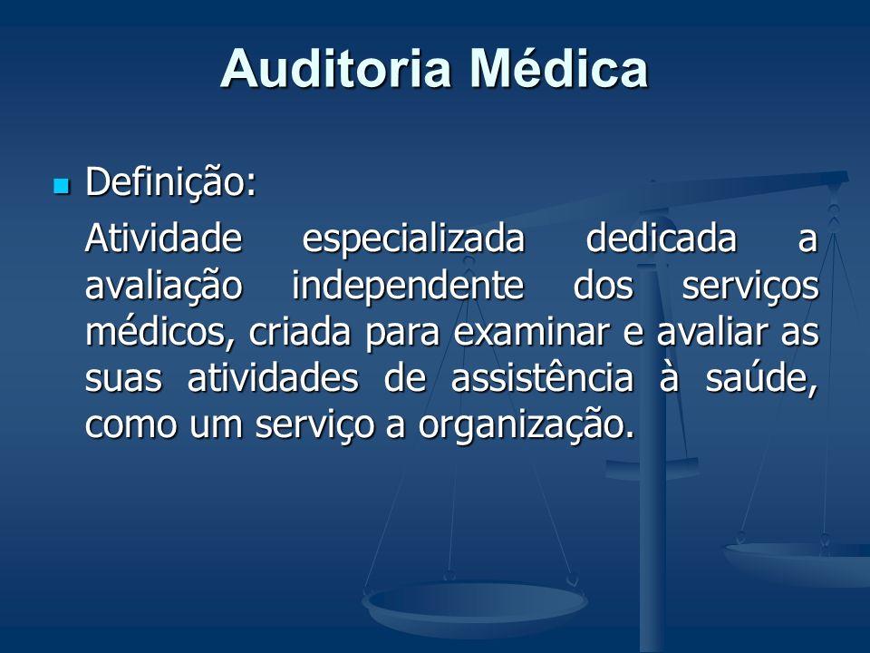 Auditoria Médica Auditoria Médica Definição: Definição: Atividade especializada dedicada a avaliação independente dos serviços médicos, criada para examinar e avaliar as suas atividades de assistência à saúde, como um serviço a organização.