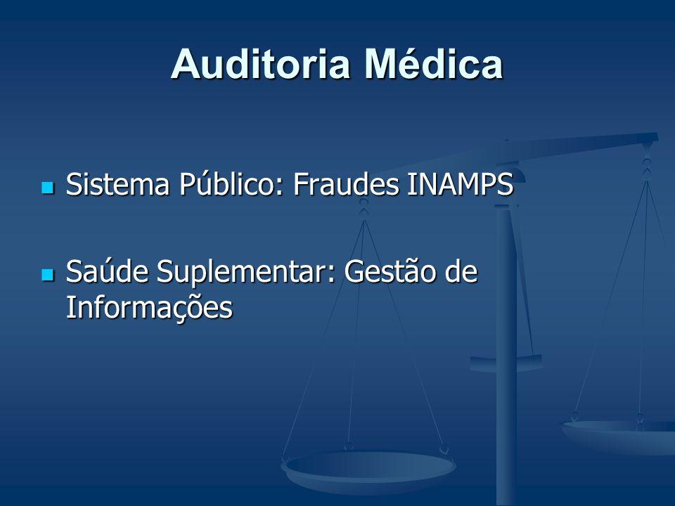 Auditoria Médica Sistema Público: Fraudes INAMPS Sistema Público: Fraudes INAMPS Saúde Suplementar: Gestão de Informações Saúde Suplementar: Gestão de Informações