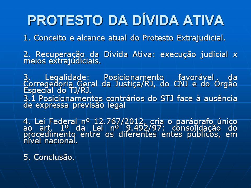 PROTESTO DA DÍVIDA ATIVA 1. Conceito e alcance atual do Protesto Extrajudicial. 2. Recuperação da Dívida Ativa: execução judicial x meios extrajudicia