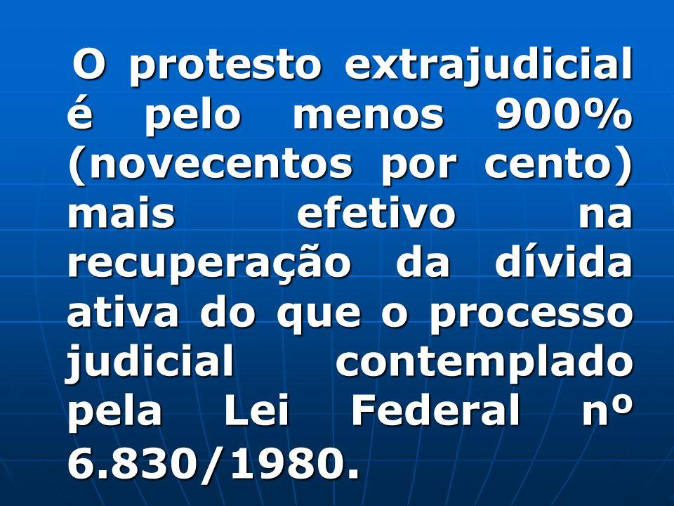 O protesto extrajudicial é pelo menos 900% (novecentos por cento) mais efetivo na recuperação da dívida ativa do que o processo judicial contemplado p