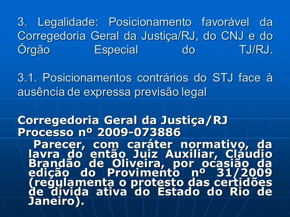 3. Legalidade: Posicionamento favorável da Corregedoria Geral da Justiça/RJ, do CNJ e do Órgão Especial do TJ/RJ. 3.1. Posicionamentos contrários do S