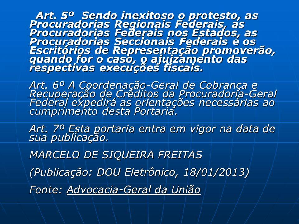 Art. 5º Sendo inexitoso o protesto, as Procuradorias Regionais Federais, as Procuradorias Federais nos Estados, as Procuradorias Seccionais Federais e