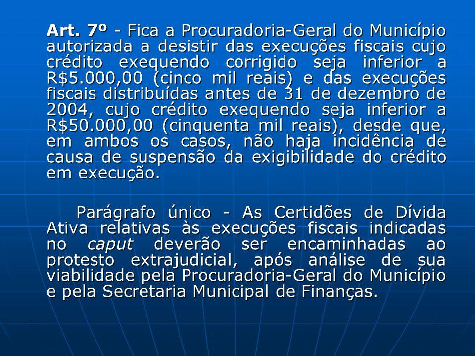 Art. 7º - Fica a Procuradoria-Geral do Município autorizada a desistir das execuções fiscais cujo crédito exequendo corrigido seja inferior a R$5.000,