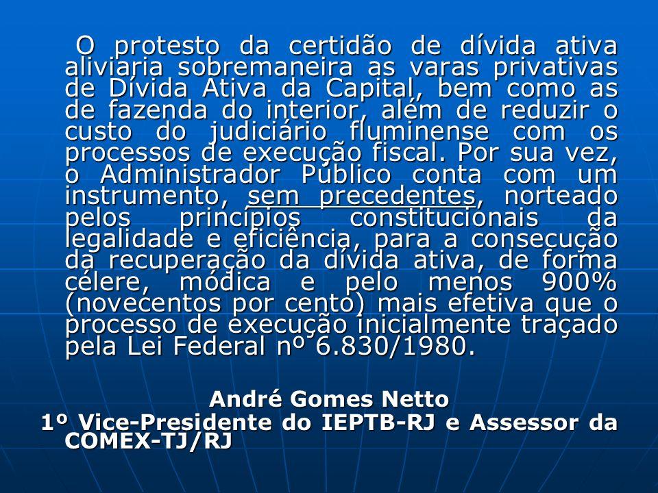 O protesto da certidão de dívida ativa aliviaria sobremaneira as varas privativas de Dívida Ativa da Capital, bem como as de fazenda do interior, além