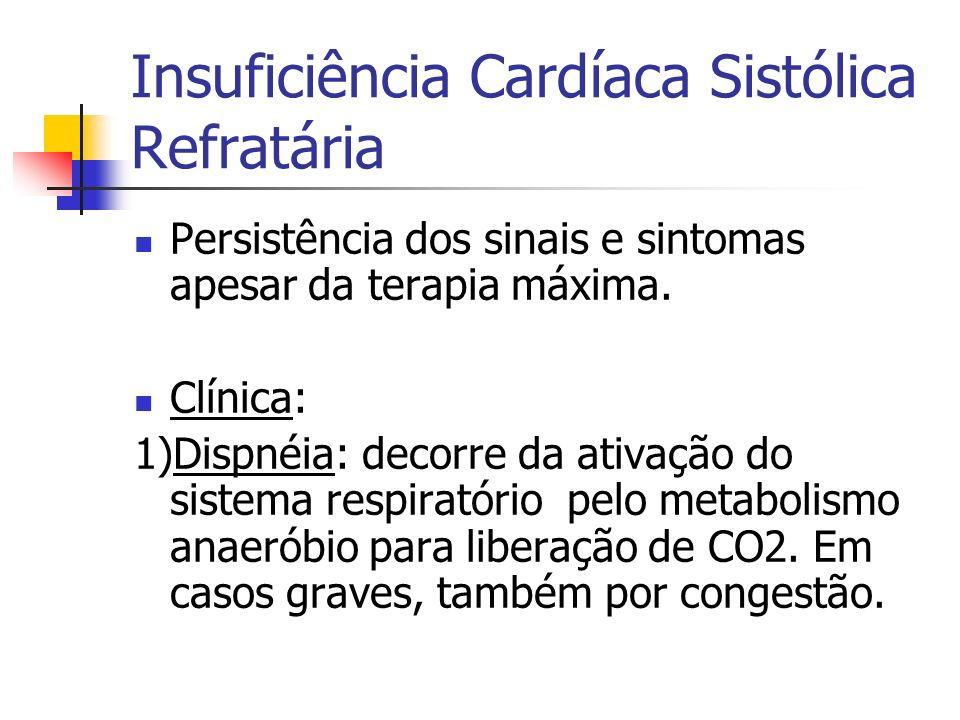 Insuficiência Cardíaca Sistólica Refratária Persistência dos sinais e sintomas apesar da terapia máxima. Clínica: 1)Dispnéia: decorre da ativação do s