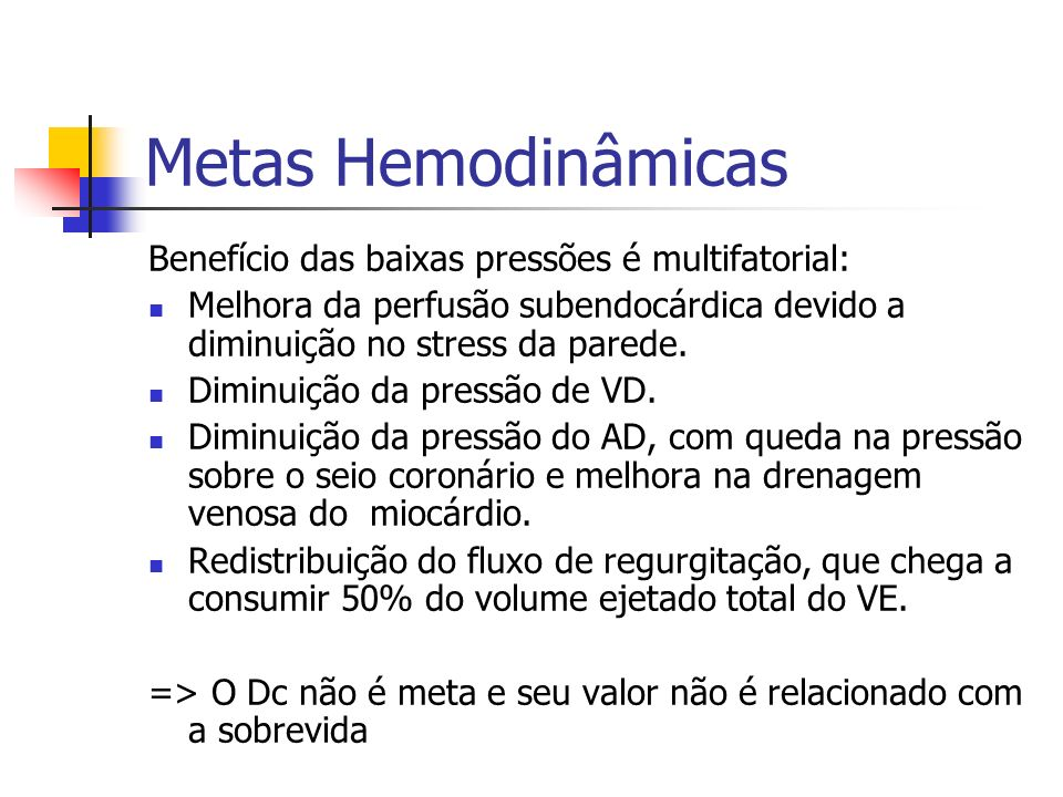 Metas Hemodinâmicas Benefício das baixas pressões é multifatorial: Melhora da perfusão subendocárdica devido a diminuição no stress da parede. Diminui