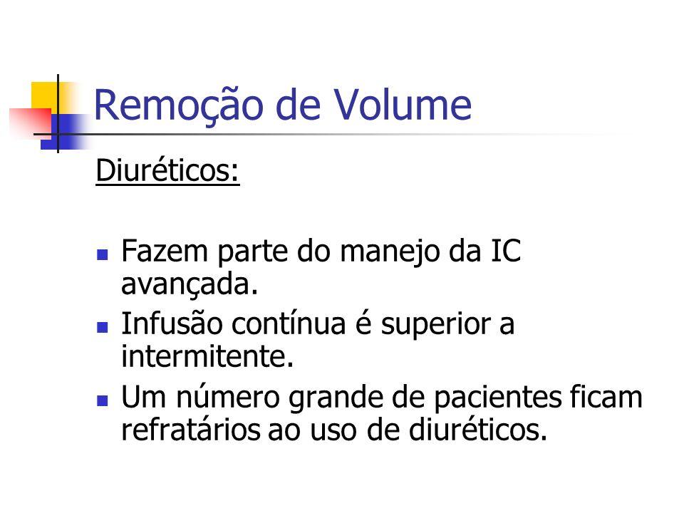 Remoção de Volume Diuréticos: Fazem parte do manejo da IC avançada. Infusão contínua é superior a intermitente. Um número grande de pacientes ficam re