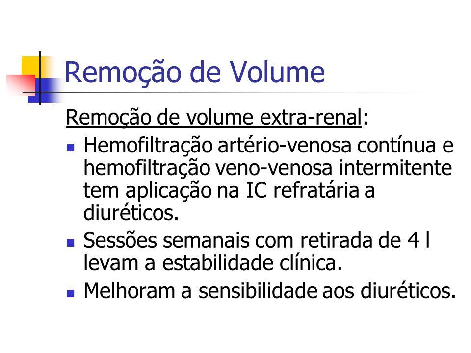 Remoção de Volume Remoção de volume extra-renal: Hemofiltração artério-venosa contínua e hemofiltração veno-venosa intermitente tem aplicação na IC re