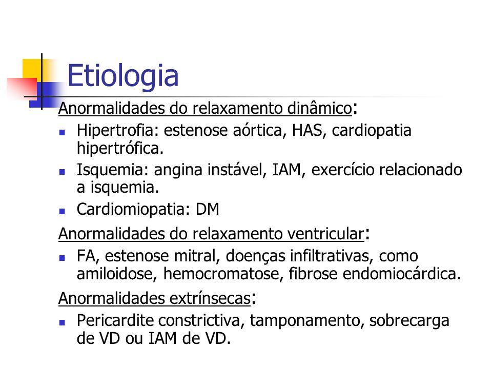 Etiologia Anormalidades do relaxamento dinâmico : Hipertrofia: estenose aórtica, HAS, cardiopatia hipertrófica. Isquemia: angina instável, IAM, exercí