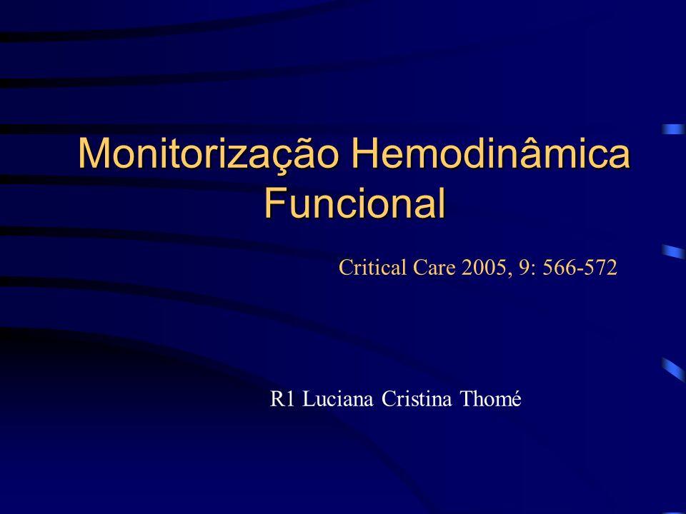 Monitorização Hemodinâmica Funcional Critical Care 2005, 9: 566-572 R1 Luciana Cristina Thomé
