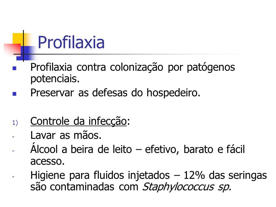 Profilaxia Profilaxia contra colonização por patógenos potenciais. Preservar as defesas do hospedeiro. 1) Controle da infecção: - Lavar as mãos. - Álc