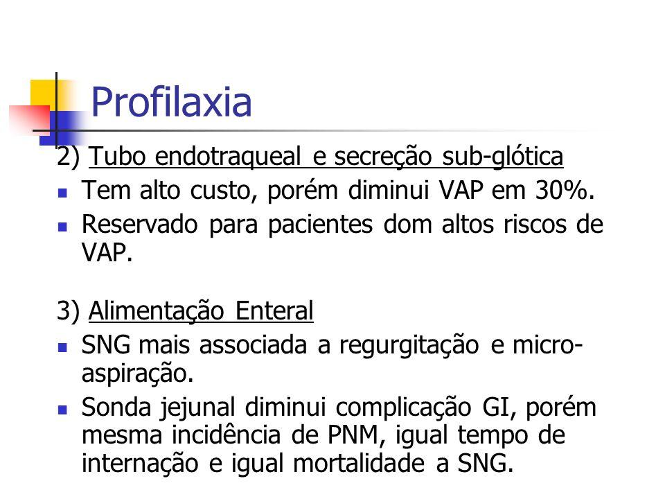 Profilaxia 2) Tubo endotraqueal e secreção sub-glótica Tem alto custo, porém diminui VAP em 30%. Reservado para pacientes dom altos riscos de VAP. 3)