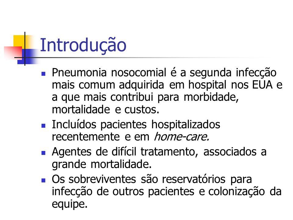 Introdução Pneumonia nosocomial é a segunda infecção mais comum adquirida em hospital nos EUA e a que mais contribui para morbidade, mortalidade e cus