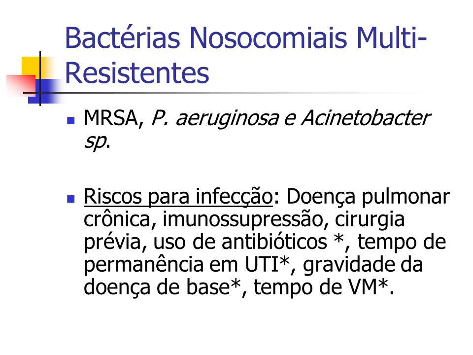 Bactérias Nosocomiais Multi- Resistentes MRSA, P. aeruginosa e Acinetobacter sp. Riscos para infecção: Doença pulmonar crônica, imunossupressão, cirur