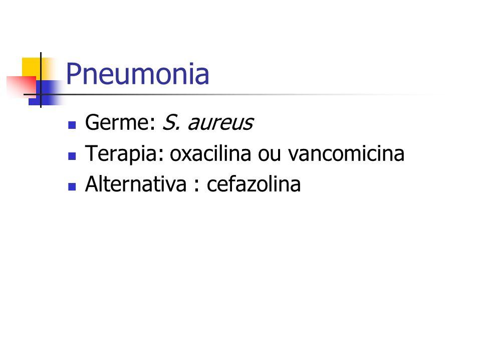 Pneumonia Germe: S. aureus Terapia: oxacilina ou vancomicina Alternativa : cefazolina