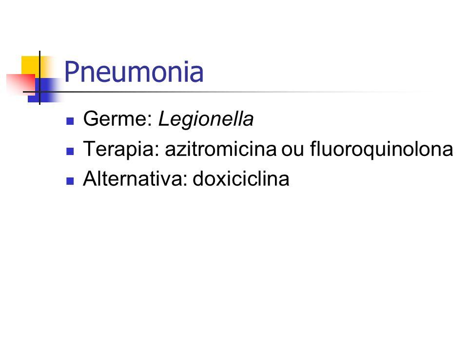 Pneumonia Germe: Legionella Terapia: azitromicina ou fluoroquinolona Alternativa: doxiciclina