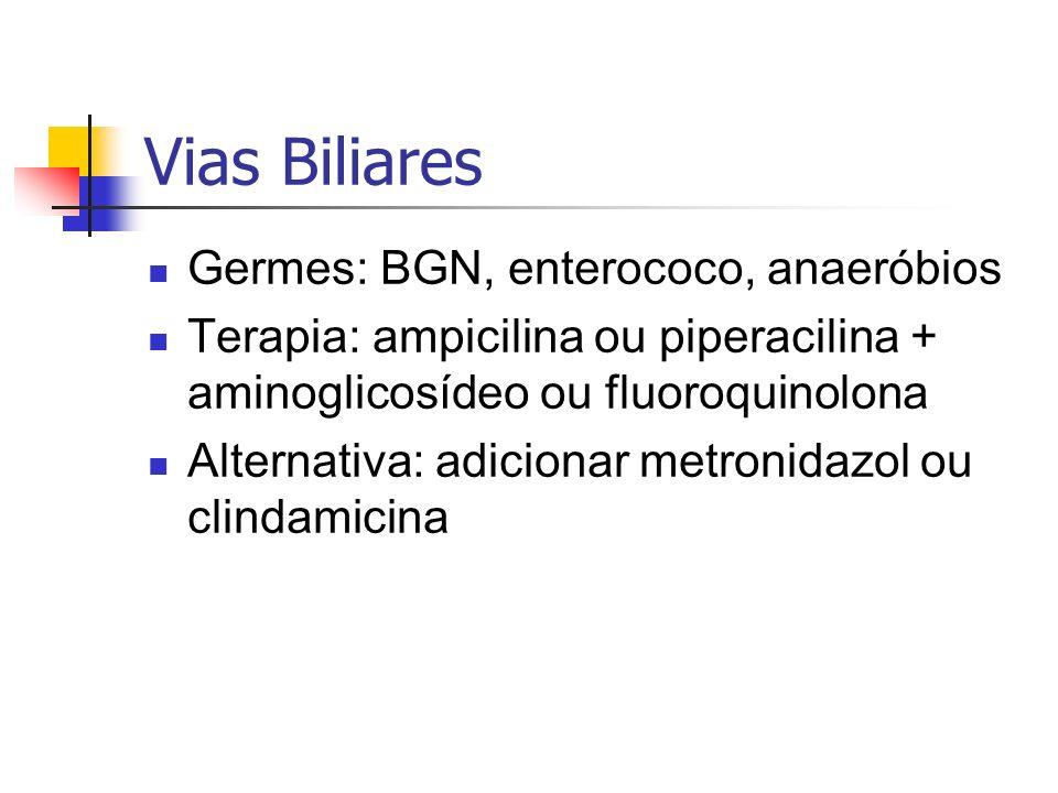 Vias Biliares Germes: BGN, enterococo, anaeróbios Terapia: ampicilina ou piperacilina + aminoglicosídeo ou fluoroquinolona Alternativa: adicionar metr