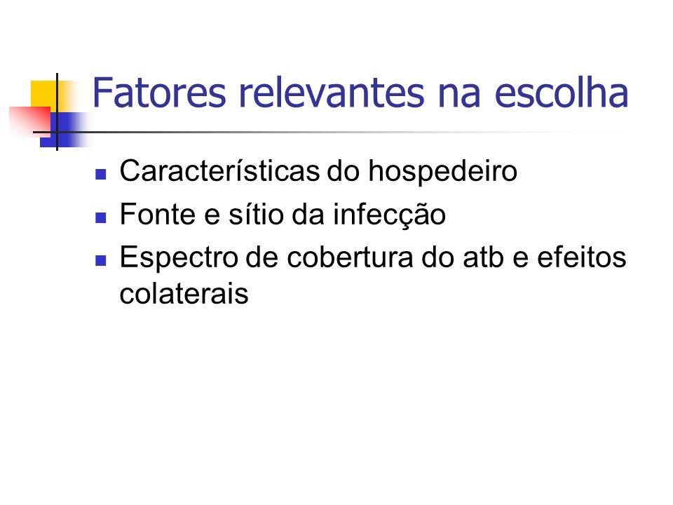 Fatores relevantes na escolha Características do hospedeiro Fonte e sítio da infecção Espectro de cobertura do atb e efeitos colaterais