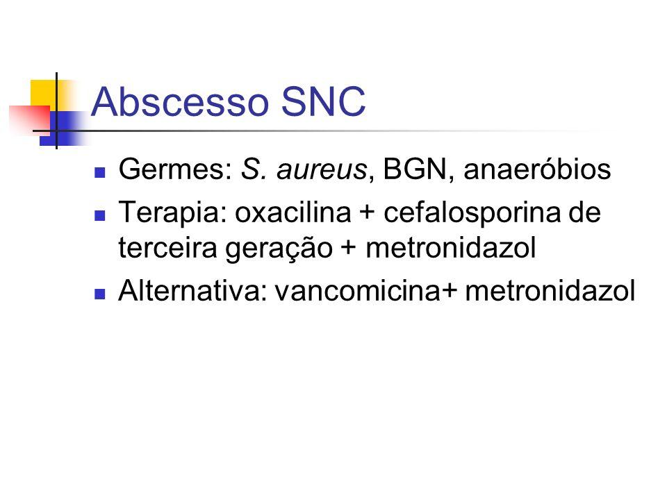 Abscesso SNC Germes: S. aureus, BGN, anaeróbios Terapia: oxacilina + cefalosporina de terceira geração + metronidazol Alternativa: vancomicina+ metron