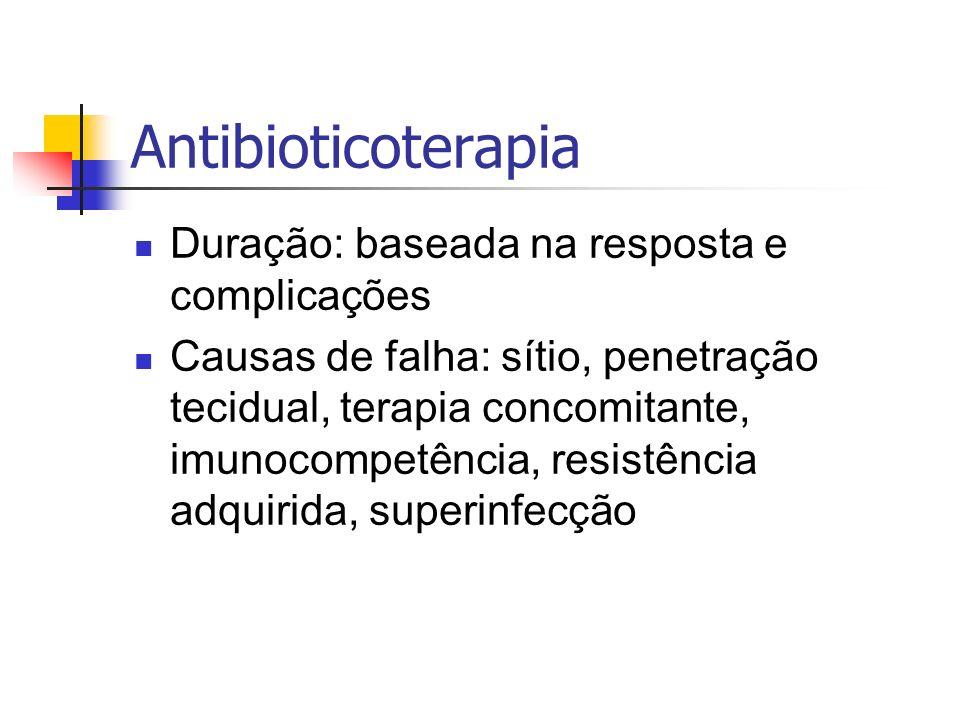 Antibioticoterapia Duração: baseada na resposta e complicações Causas de falha: sítio, penetração tecidual, terapia concomitante, imunocompetência, re