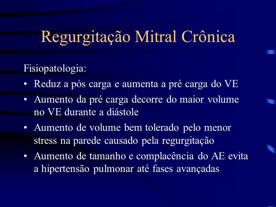 Regurgitação Mitral Crônica Fisiopatologia: Reduz a pós carga e aumenta a pré carga do VE Aumento da pré carga decorre do maior volume no VE durante a