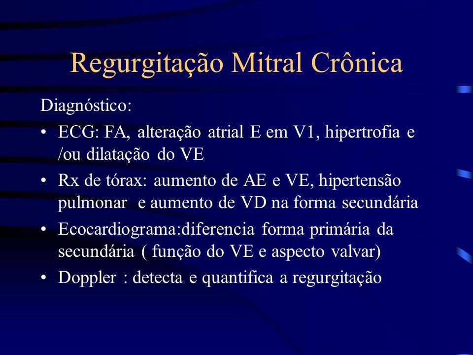 Regurgitação Mitral Crônica Diagnóstico: ECG: FA, alteração atrial E em V1, hipertrofia e /ou dilatação do VE Rx de tórax: aumento de AE e VE, hiperte