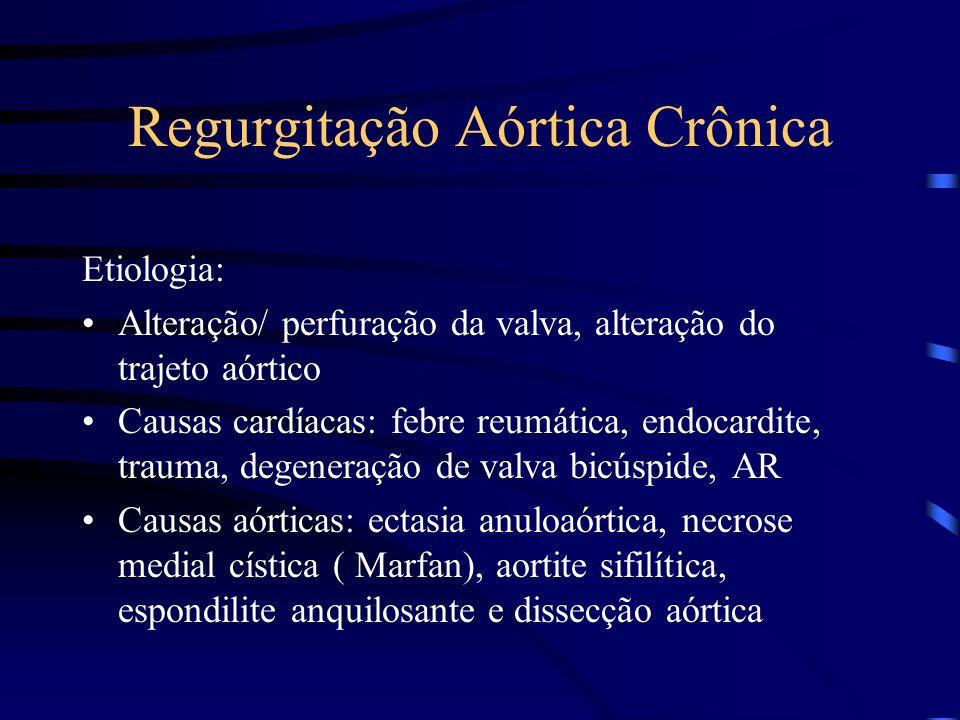 Regurgitação Aórtica Crônica Etiologia: Alteração/ perfuração da valva, alteração do trajeto aórtico Causas cardíacas: febre reumática, endocardite, t