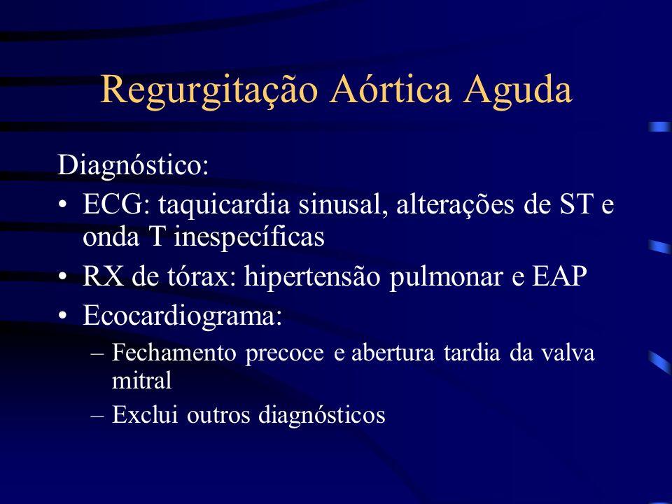 Regurgitação Aórtica Aguda Diagnóstico: ECG: taquicardia sinusal, alterações de ST e onda T inespecíficas RX de tórax: hipertensão pulmonar e EAP Ecoc
