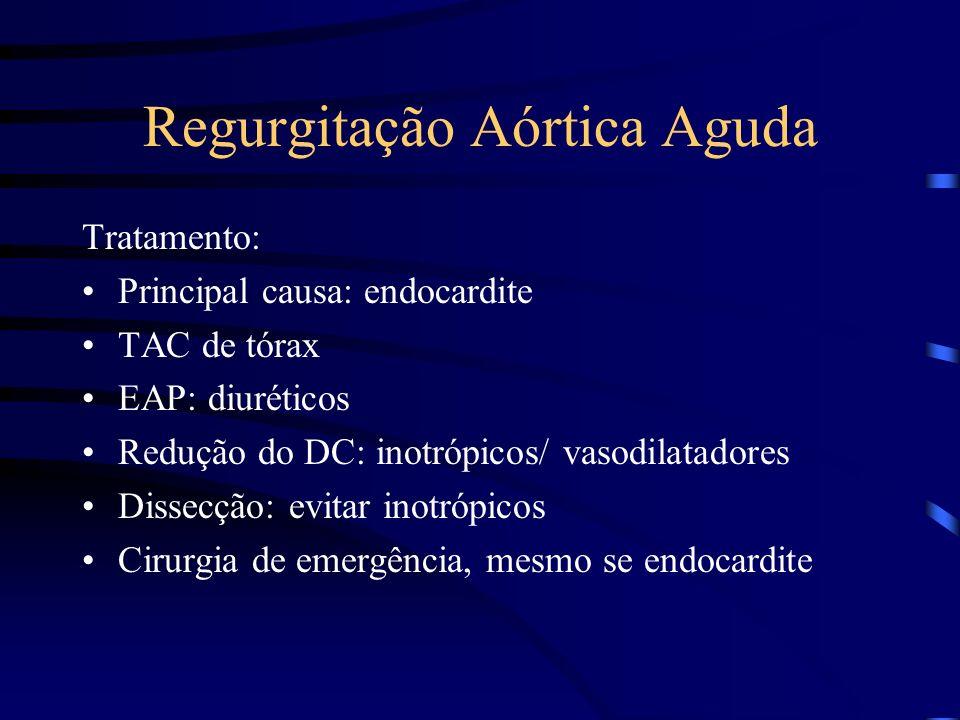 Regurgitação Aórtica Aguda Tratamento: Principal causa: endocardite TAC de tórax EAP: diuréticos Redução do DC: inotrópicos/ vasodilatadores Dissecção