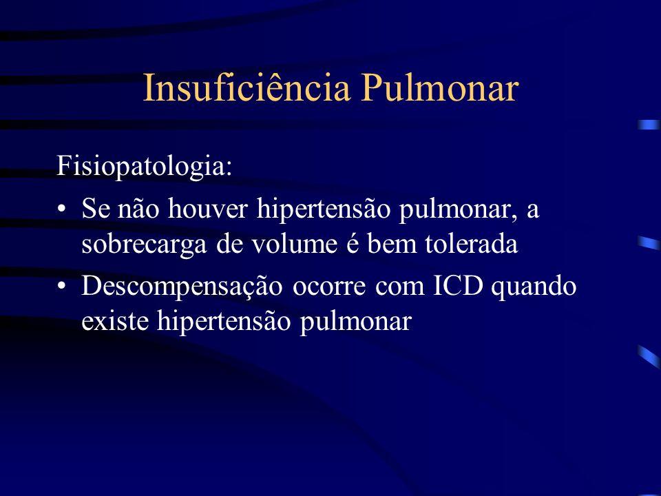 Insuficiência Pulmonar Fisiopatologia: Se não houver hipertensão pulmonar, a sobrecarga de volume é bem tolerada Descompensação ocorre com ICD quando