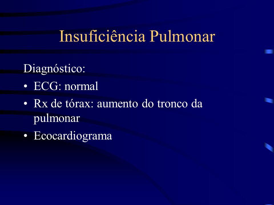 Insuficiência Pulmonar Diagnóstico: ECG: normal Rx de tórax: aumento do tronco da pulmonar Ecocardiograma