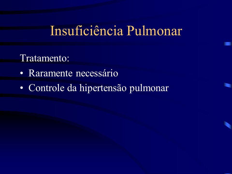 Insuficiência Pulmonar Tratamento: Raramente necessário Controle da hipertensão pulmonar