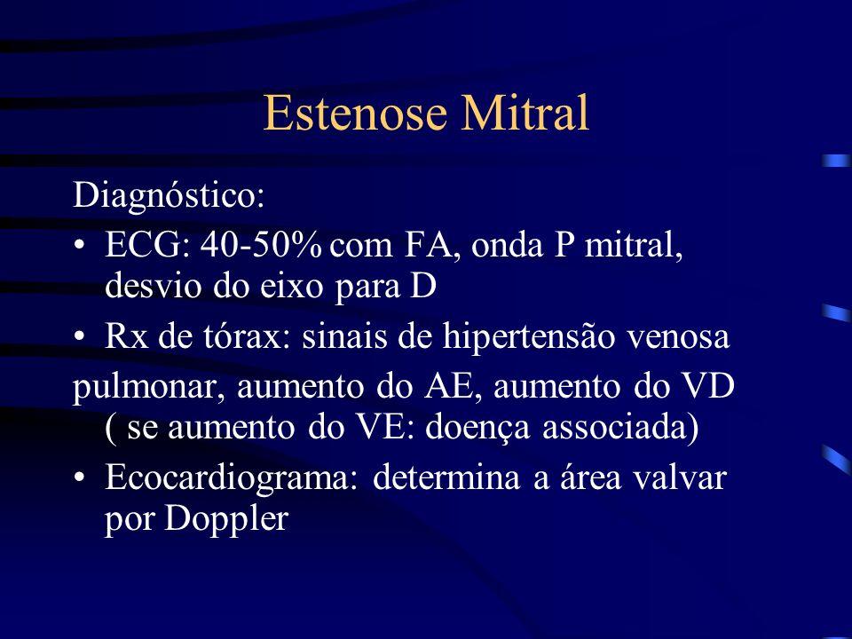 Estenose Mitral Diagnóstico: ECG: 40-50% com FA, onda P mitral, desvio do eixo para D Rx de tórax: sinais de hipertensão venosa pulmonar, aumento do A