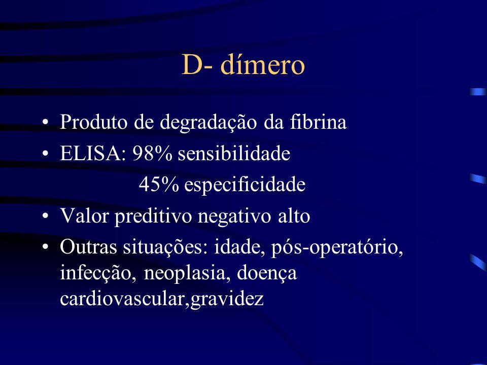 D- dímero Produto de degradação da fibrina ELISA: 98% sensibilidade 45% especificidade Valor preditivo negativo alto Outras situações: idade, pós-operatório, infecção, neoplasia, doença cardiovascular,gravidez
