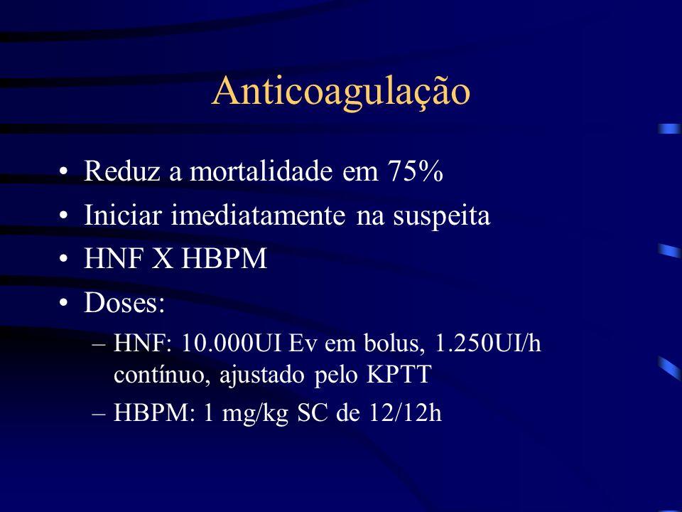 Anticoagulação Reduz a mortalidade em 75% Iniciar imediatamente na suspeita HNF X HBPM Doses: –HNF: 10.000UI Ev em bolus, 1.250UI/h contínuo, ajustado pelo KPTT –HBPM: 1 mg/kg SC de 12/12h
