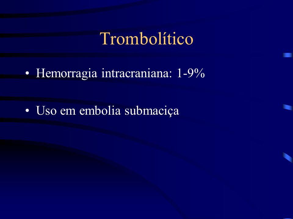 Trombolítico Hemorragia intracraniana: 1-9% Uso em embolia submaciça