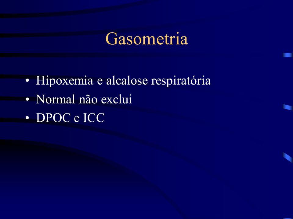 Gasometria Hipoxemia e alcalose respiratória Normal não exclui DPOC e ICC