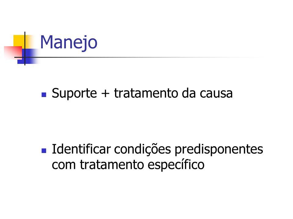 Manejo Suporte + tratamento da causa Identificar condições predisponentes com tratamento específico