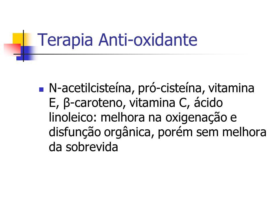 Terapia Anti-oxidante N-acetilcisteína, pró-cisteína, vitamina E, β-caroteno, vitamina C, ácido linoleico: melhora na oxigenação e disfunção orgânica,
