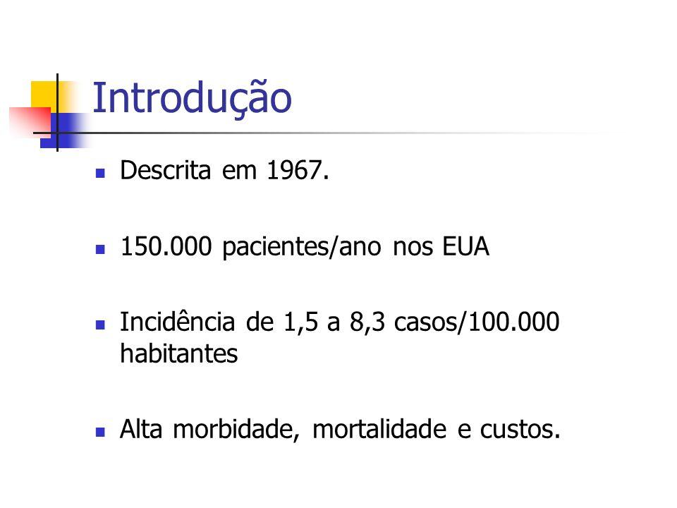 Introdução Descrita em 1967. 150.000 pacientes/ano nos EUA Incidência de 1,5 a 8,3 casos/100.000 habitantes Alta morbidade, mortalidade e custos.