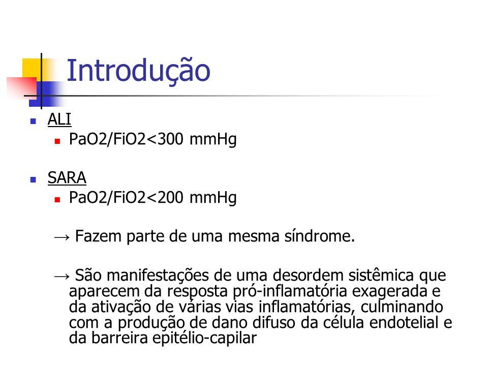 Introdução ALI PaO2/FiO2<300 mmHg SARA PaO2/FiO2<200 mmHg Fazem parte de uma mesma síndrome. São manifestações de uma desordem sistêmica que aparecem
