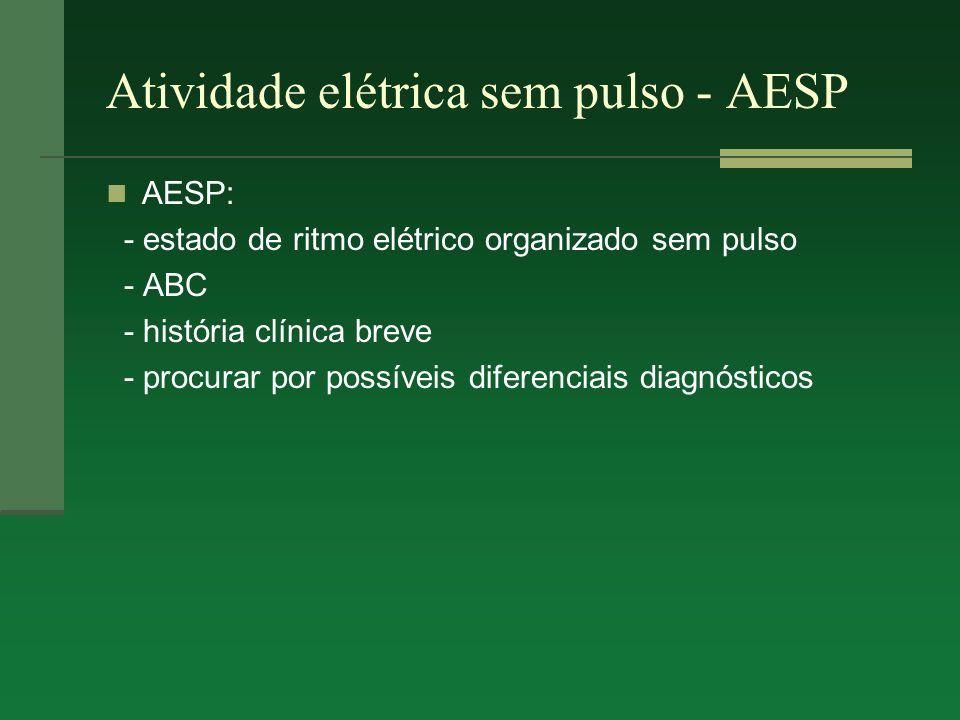 Atividade elétrica sem pulso - AESP AESP: - estado de ritmo elétrico organizado sem pulso - ABC - história clínica breve - procurar por possíveis dife