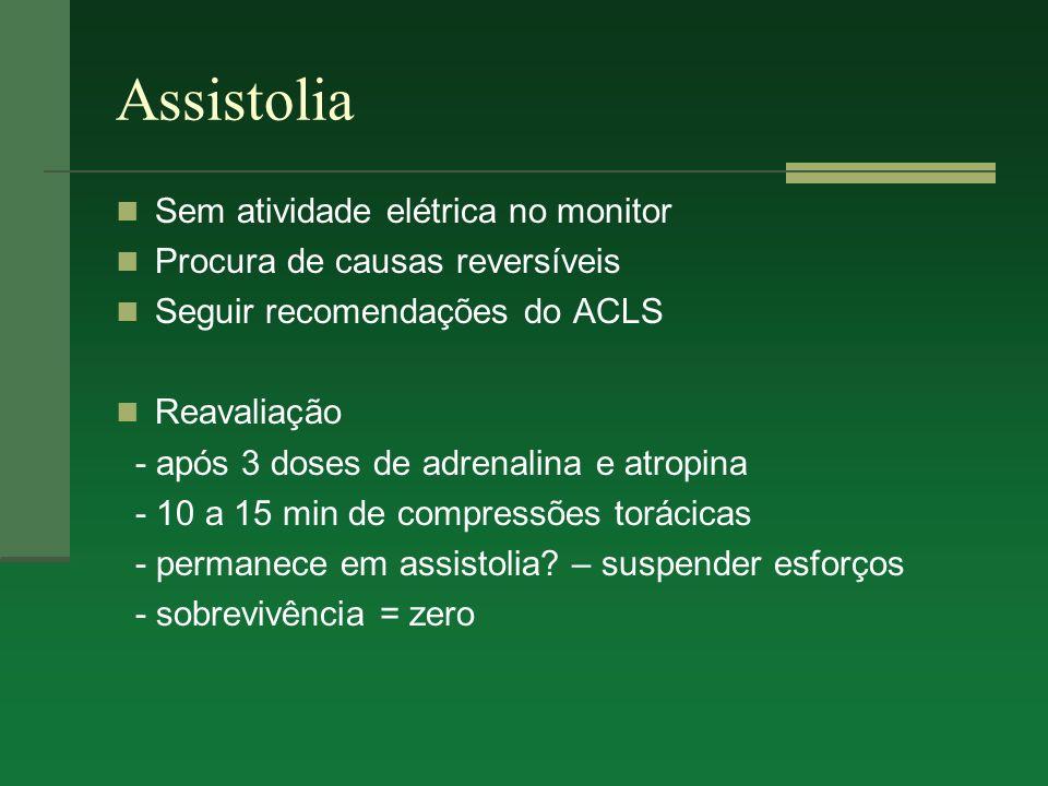 Assistolia Sem atividade elétrica no monitor Procura de causas reversíveis Seguir recomendações do ACLS Reavaliação - após 3 doses de adrenalina e atr