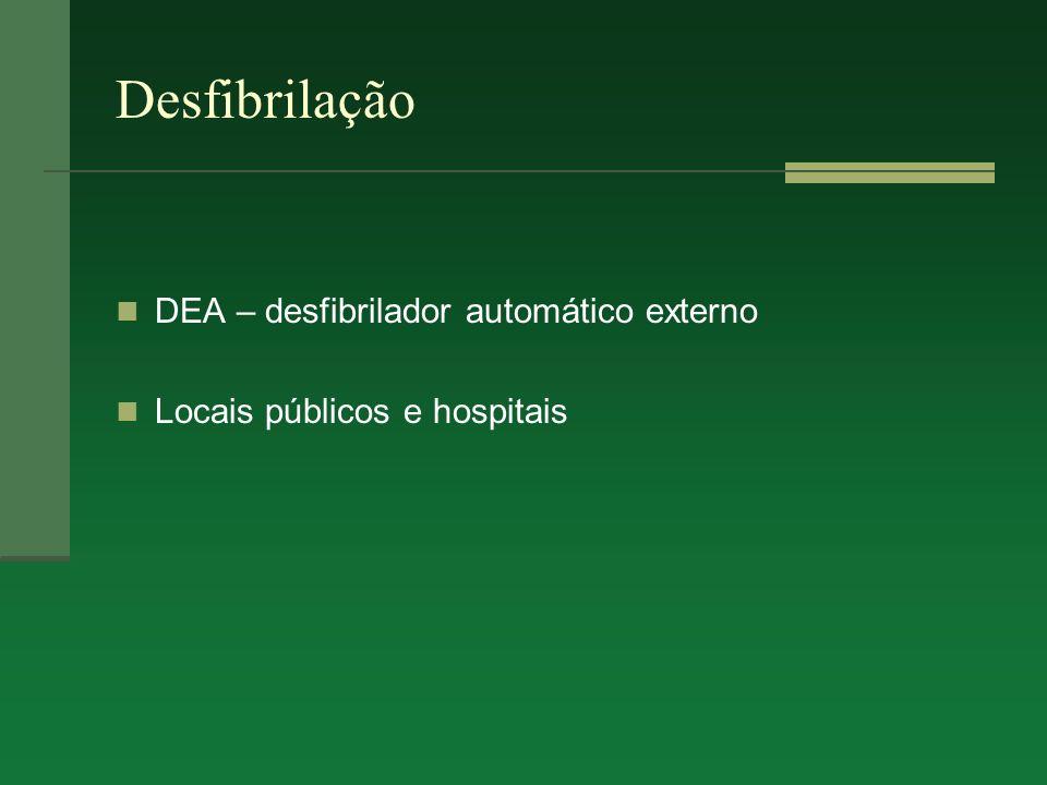 Desfibrilação DEA – desfibrilador automático externo Locais públicos e hospitais