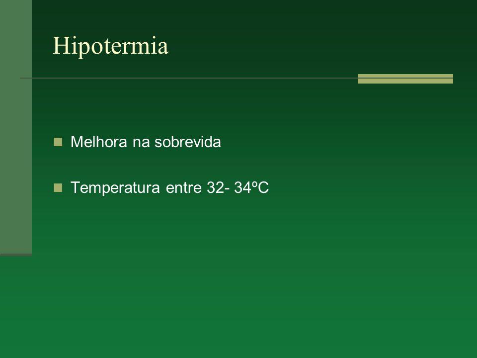 Hipotermia Melhora na sobrevida Temperatura entre 32- 34ºC