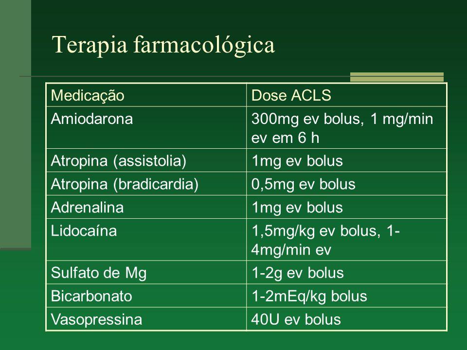 Terapia farmacológica MedicaçãoDose ACLS Amiodarona300mg ev bolus, 1 mg/min ev em 6 h Atropina (assistolia)1mg ev bolus Atropina (bradicardia)0,5mg ev