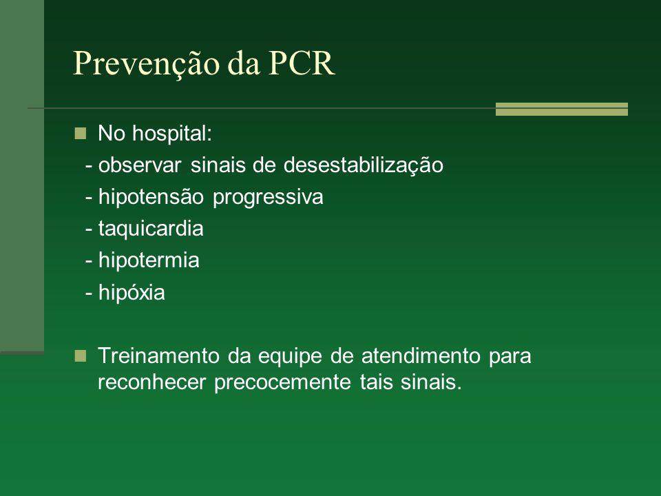 Prevenção da PCR No hospital: - observar sinais de desestabilização - hipotensão progressiva - taquicardia - hipotermia - hipóxia Treinamento da equip